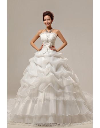 Custom Gorgeous Chapel Train Ball Gown Strapless Organza Dress for Spring Wedding
