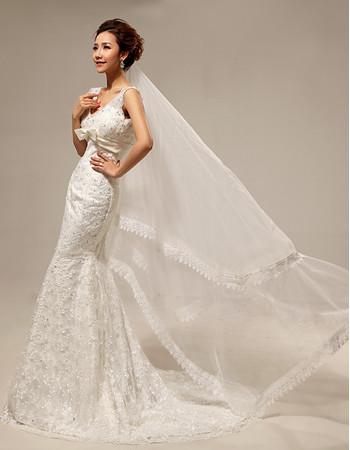 Custom Modern Elegant Mermaid/ Trumpet Lace V-Neck Sweep Train Wedding Dress