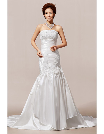 Modern Mermaid/ Trumpet Court Train Strapless Satin Wedding Dress
