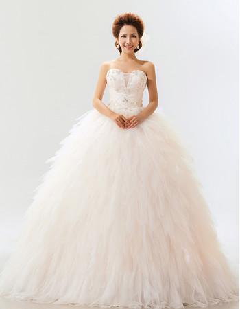 Stunning Ruffle Organza Sweetheart Ball Gown Long Dress for Spring Wedding