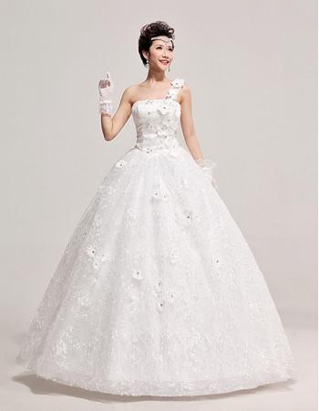 Custom Modern One Shoulder Organza Ball Gown Floor Length Wedding Dress