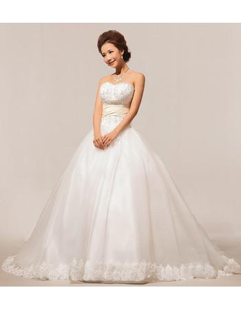 Modern Elegant Sweetheart Court Train Beaded Ball Gown Satin Wedding Dress