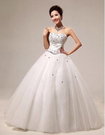 Modern Rhinestone Ball Gown Sweetheart Floor Length Satin Dress for Spring Wedding