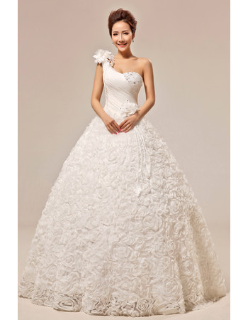 Custom Chic One Shoulder Floral Ball Gown Floor Length Satin Wedding Dress