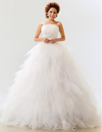 Elegant Gorgeous Ruffle Organza Ball Gown Strapless Floor Length Wedding Dress