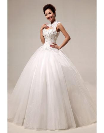 Custom Modern Mandarin Collar Beaded Ball Gown Floor Length Wedding Dress