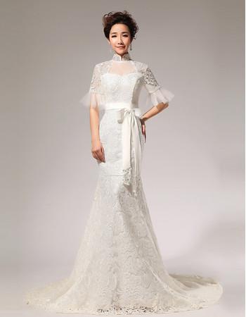 Discount Modern Mermaid Lace Mandarin Collar Short Sleeves Wedding Dress