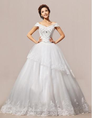 Modern Elegant Off-the-shoulder Ball Gown Floor Length Organza Wedding Dress