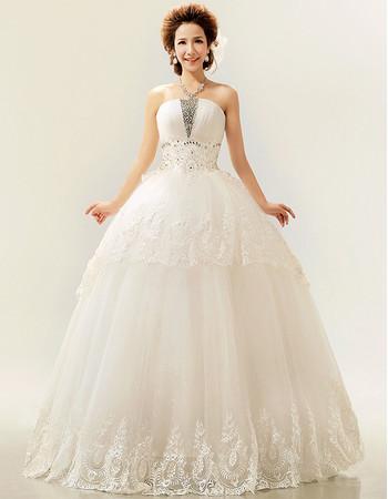 Modern Ball Gown Strapless Floor Length Organza Wedding Dress for Spring
