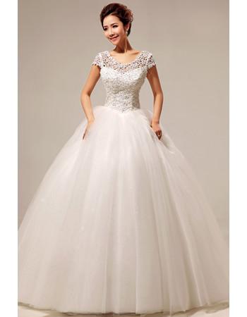 Custom Modern Lace Short Sleeves Ball Gown Floor Length Wedding Dress