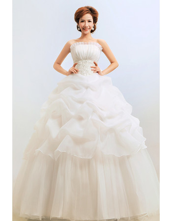 Discount Gorgeous Ball Gown Strapless Floor Length Organza Wedding Dress