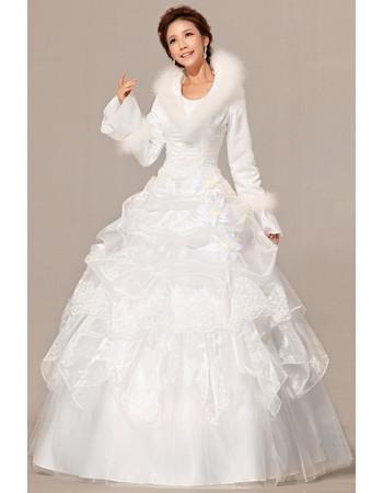 Gorgeous Long Sleeves Satin Ball Gown Floor Length Dress for Winter Wedding