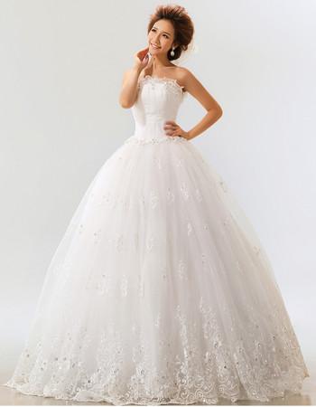 Custom Modern Applique Ball Gown Strapless Floor Length Organza Wedding Dress