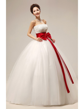 Affordable Modern Beaded Ball Gown Strapless Long Wedding Dress with Sashes