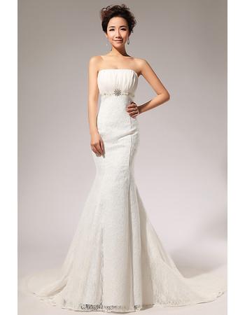 Custom Elegant Lace Mermaid/ Trumpet Sweep Train Strapless Wedding Dress