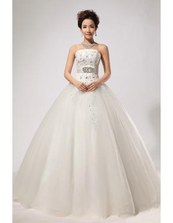 Custom Modern Rhinestone Ball Gown Strapless Floor Length Satin Wedding Dress