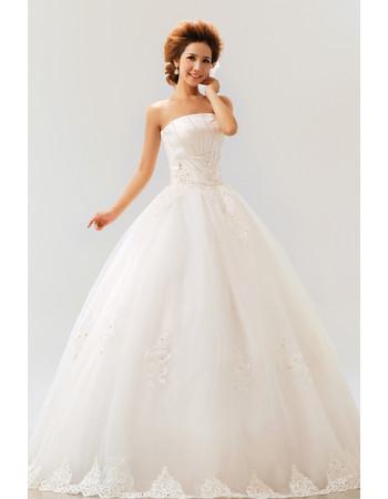Modern Inexpensive Ball Gown Strapless Floor Length Organza Wedding Dress