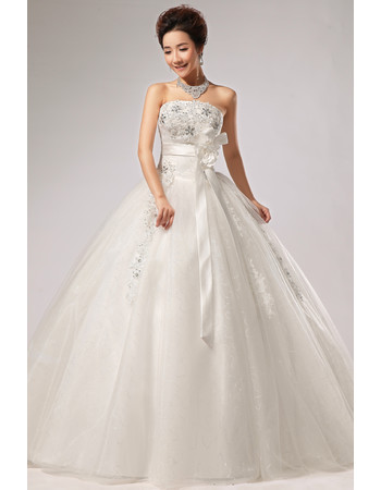 Modern Elegant Ball Gown Strapless Floor Length Wedding Dress with Sashes
