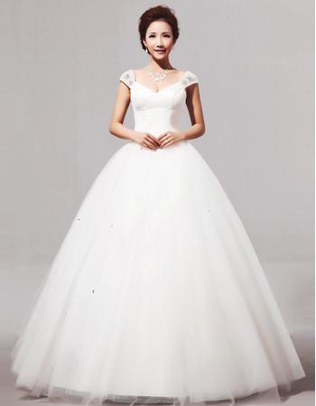 Modern V-Neck Cap Sleeves Ball Gown Long Satin Dress for Spring Wedding
