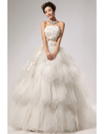 Gorgeous Elegant Tiered Organza A-Line Strapless Floor Length Wedding Dress