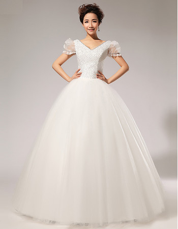 Custom Modern Bubble Sleeves V-Neck Beaded Ball Gown Floor Length Wedding Dress