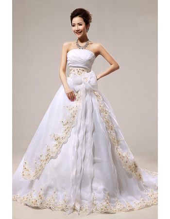 Affordable Stunning A-Line Strapless Court Train Embroidery Wedding Dress
