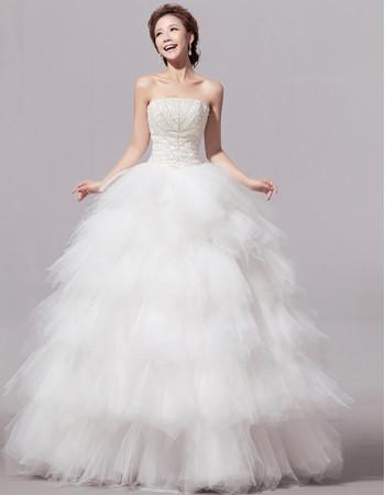 Custom Gorgeous Bubble Skirt Organza Strapless Floor Length Wedding Dress