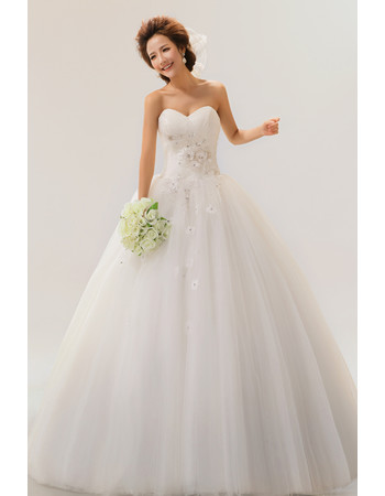 Cheap Custom Modern A-Line Sweetheart Long Applique Organza Dress for Spring Wedding