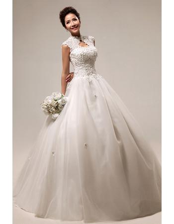 Custom Modern Mandarin Collar Lace A-Line Floor Length Wedding Dress
