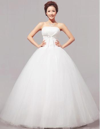 Discount Classic Modern Ball Gown Strapless Floor Length Satin Wedding Dress