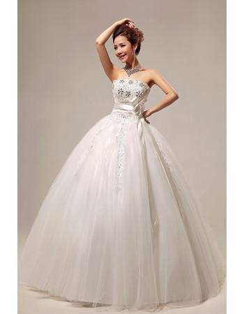 Modern Elegant Ball Gown Strapless Floor Length Beaded Wedding Dress