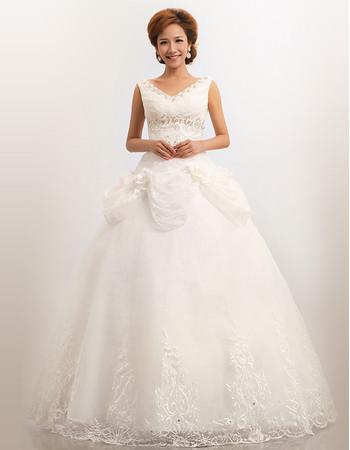 Cheap Modern V-Neck Organza Ball Gown Floor Length Dress for Spring Wedding