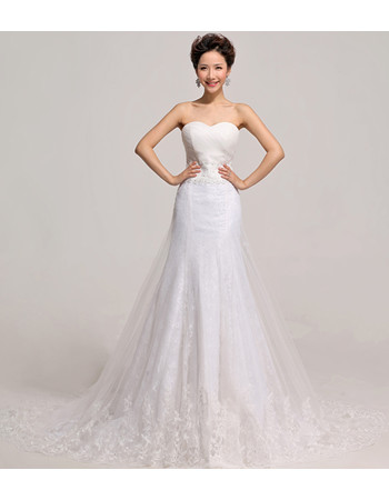 Custom Elegant Mermaid/ Trumpet Sweetheart Organza Court Train Wedding Dress
