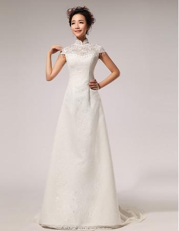 Affordable Modern Lace Mandarin Collar Cap Sleeves A-Line Wedding Dress