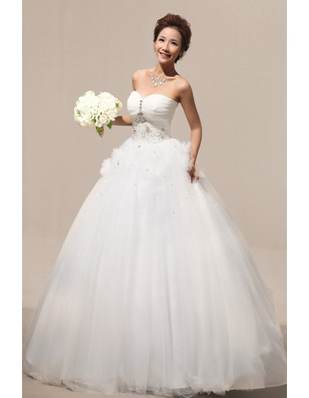 Custom Modern Ball Gown Sweetheart Floor Length Satin Wedding Dress