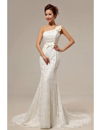 Custom Elegant Mermaid One Shoulder Lace Sweep Train Wedding Dress for Spring