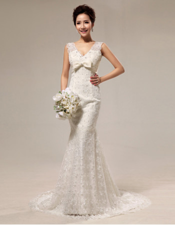 Cheap Elegant Mermaid V-Neck Lace Sweep Train Wedding Dress