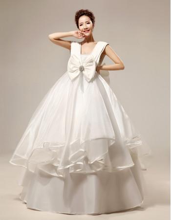 Custom Gorgeous Empire V-Neck Floor Length Satin Ball Gown Wedding Dress