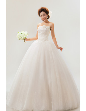 Custom Modern Strapless Floor Length Organza Ball Gown Dress for Spring Wedding