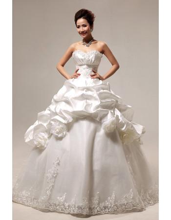 Custom Gorgeous Pick-Up Skirt Ball Gown Sweetheart Floor Length Wedding Dress