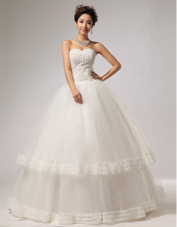 Custom Gorgeous Floral Ball Gown Sweetheart Floor Length Organza Wedding Dress