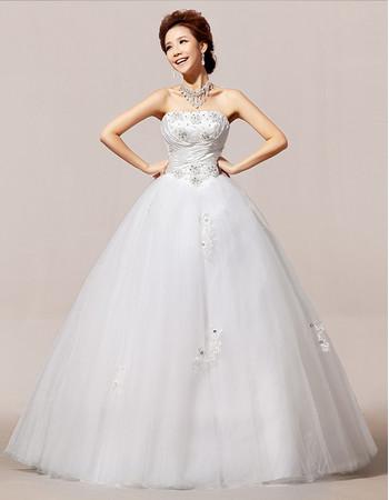 Inexpensive Modern Strapless Floor Length Organza Ball Gown Wedding Dress