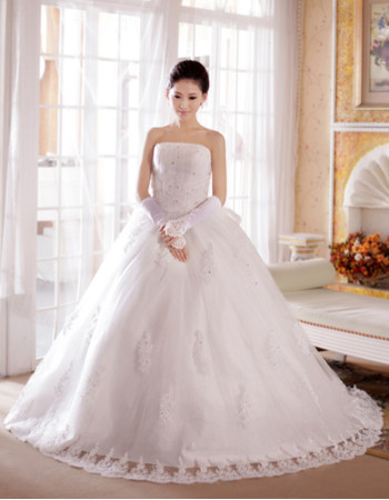 Custom Gorgeous Elegant A-Line Strapless Chapel Train Organza Wedding Dress