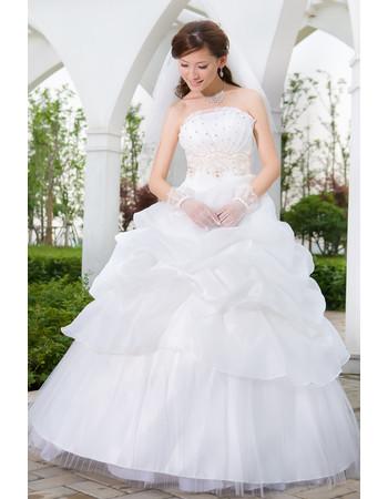 Custom Gorgeous Ball Gown Pick-Up Skirt Strapless Floor Length Wedding Dress