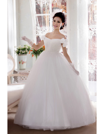 Custom Modern Off-the-shoulder Ball Gown Floor Length Satin Dress for Spring Wedding