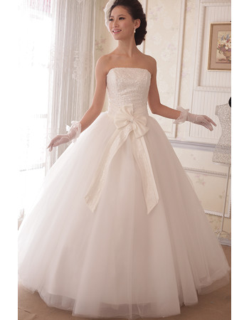 Inexpensive Classic Ball Gown Strapless Floor Length Sequin Wedding Dress