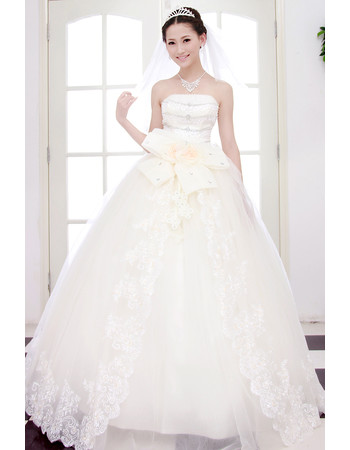 Custom Beautiful Elegant Ball Gown Strapless Floor Length Beaded Wedding Dress