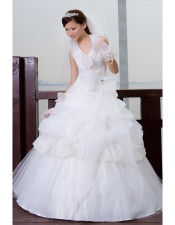 Affordable Stunning Elegant Halter Ball Gown Floor Length Organza Wedding Dress