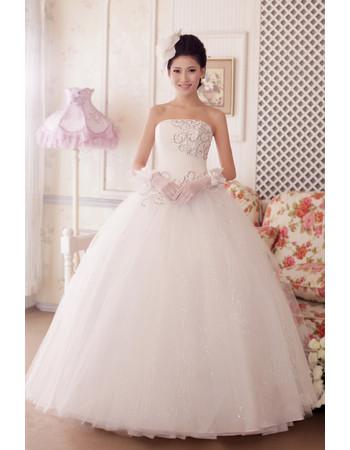 Custom Classy Ball Gown Strapless Floor Length Beaded Wedding Dress