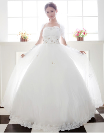 Beautiful Ball Gown Strapless Floor Length Beaded Dress for Spring Wedding